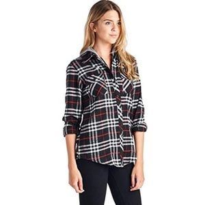 🆕Ci Sono Red Plaid Button Down Flannel Shirt